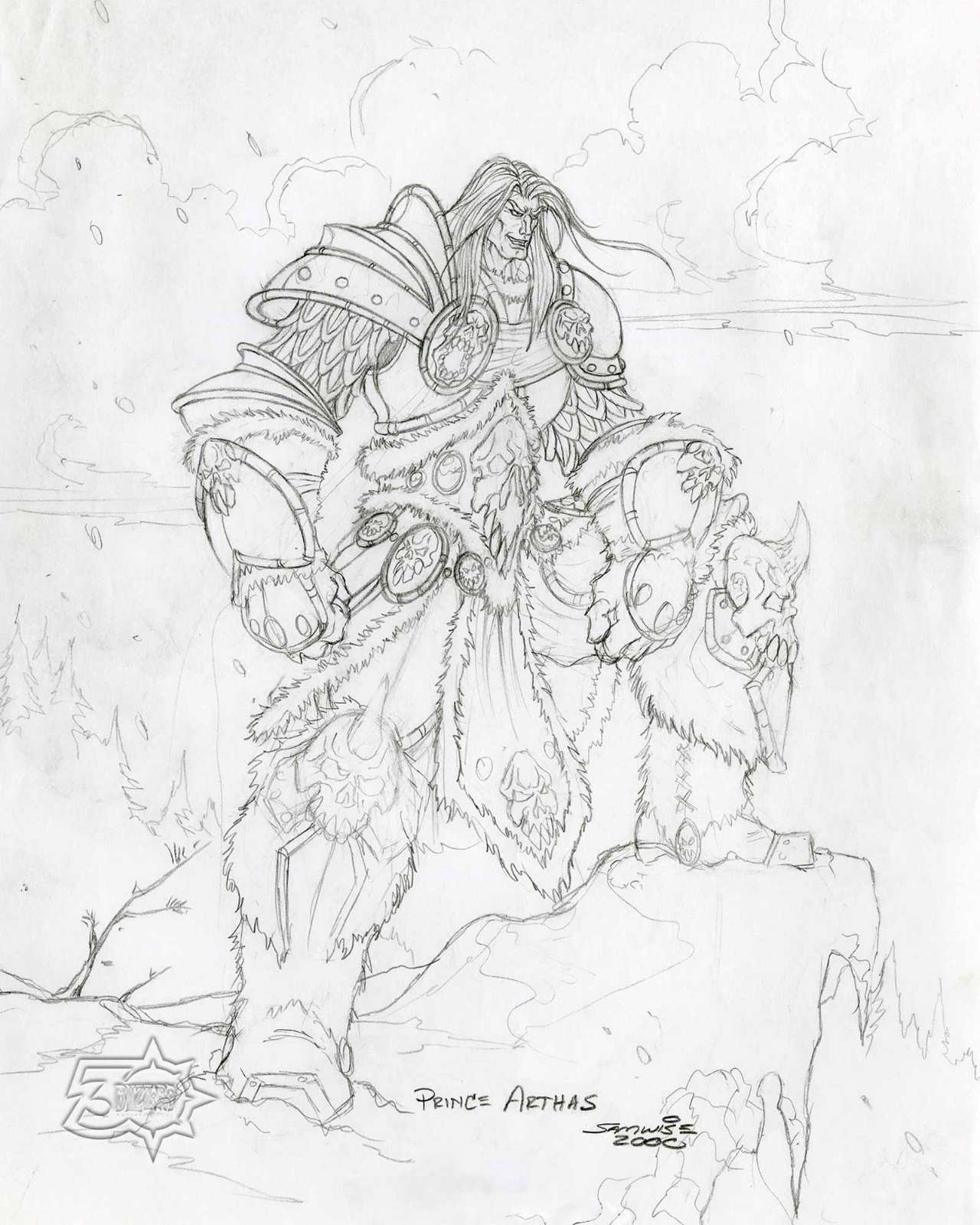 """Prince Arthas Concept Art Print 8"""" x 10"""", From the Vault - Limited Release"""