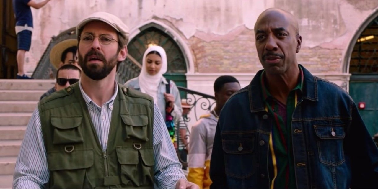 """Martin Starr as Mr. Herrington (left) and JB Smoove as Mr. Bell (right) in """"Spider-Man: Far From Home"""" (2019)"""