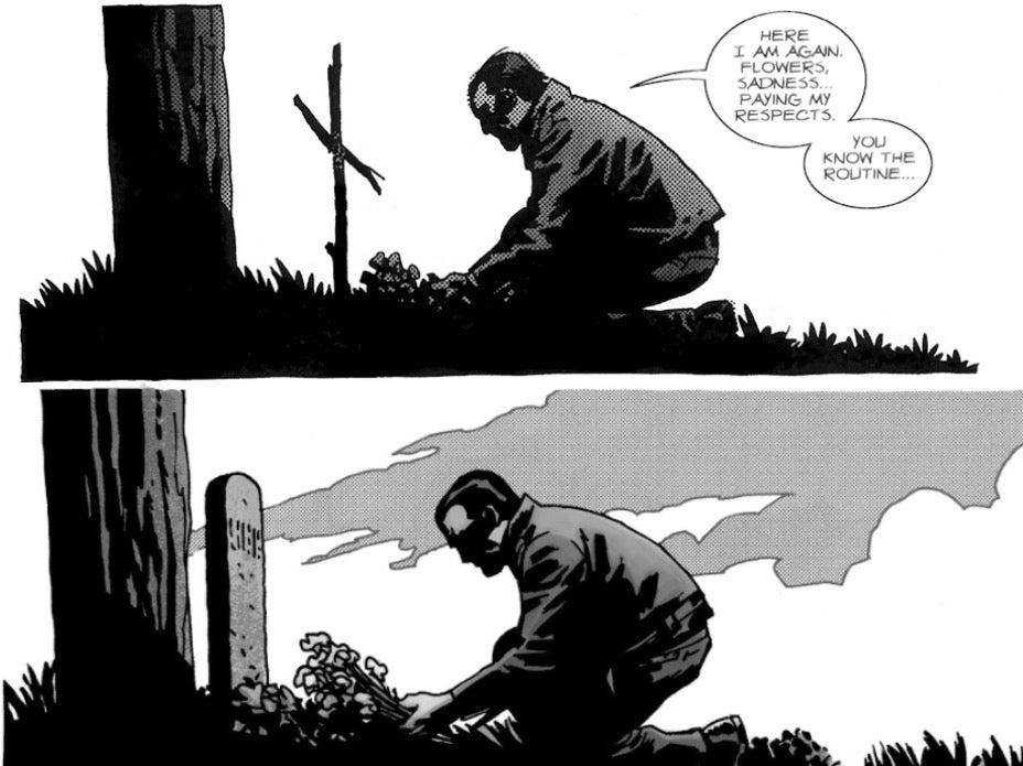 The Walking Dead comics Lucille grave