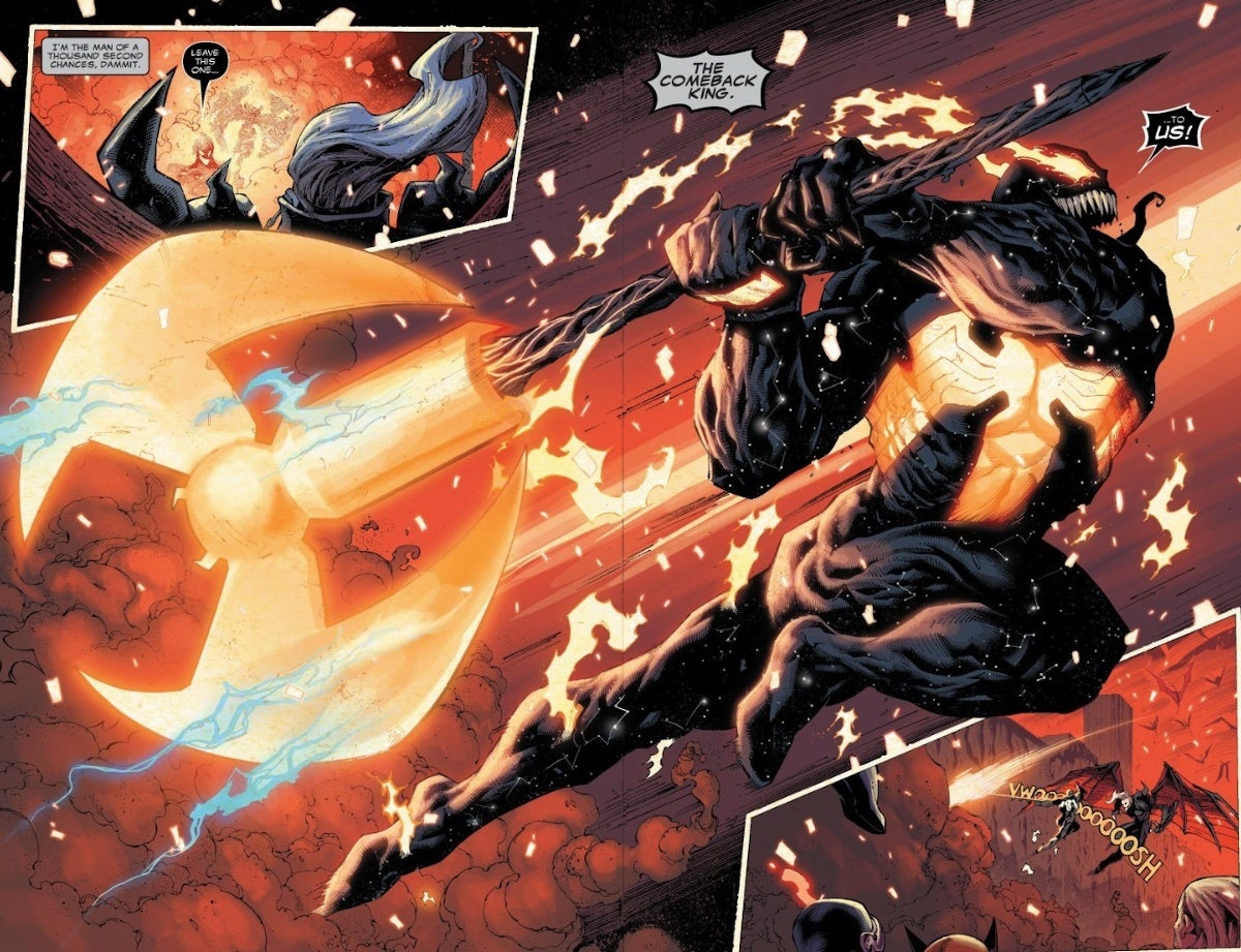 Venom Makes Ax Out of Thors Hammer and Silver Surfer Board King In Black Ending SPoilers