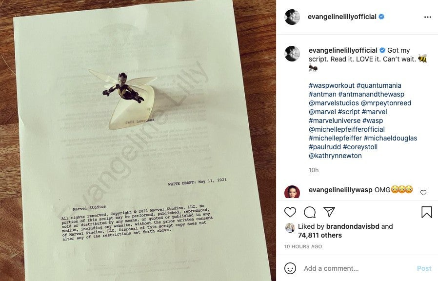 Ant Man 3 and the Wasp Quantumania Script Photo Evangeline Lilly