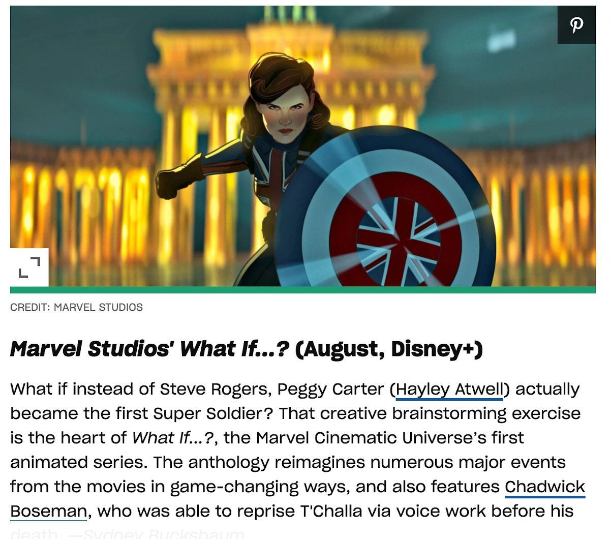 Marvel What If Premiering August 2021 EW Article