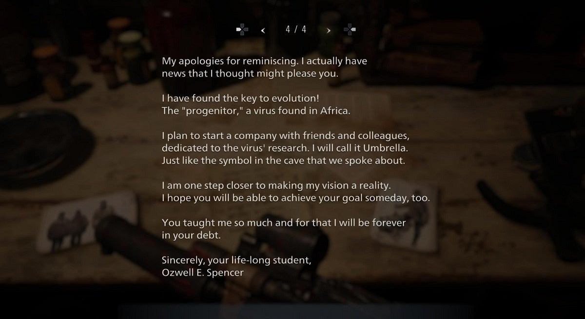 Resident Evil Village Letter