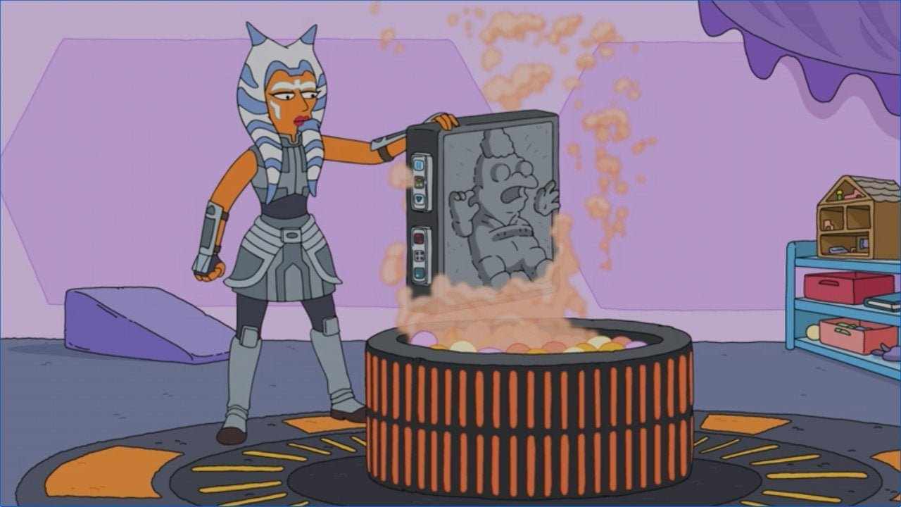 the simpsons star wars crossover force awakens from its nap ahsoka