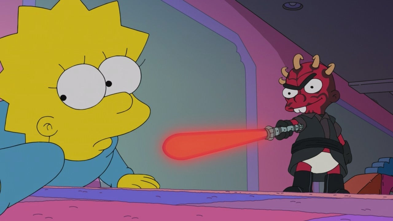 the simpsons star wars crossover force awakens from its nap darth maul unibrow baby