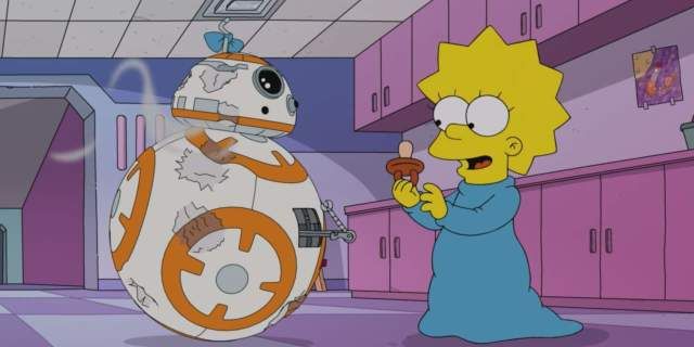 the simpsons star wars force awakens from its nap maggie bb8