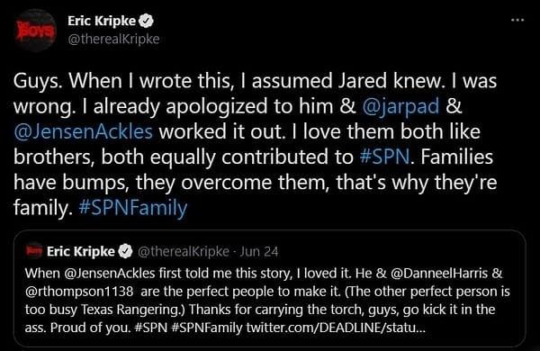 eric kripke supernatural tweet
