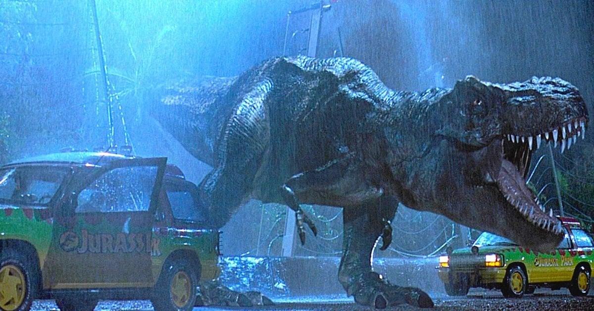 jurassic park t rex 1993 original rain scene