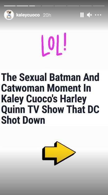kaley cuoco instagram harley quinn batman sex controversy