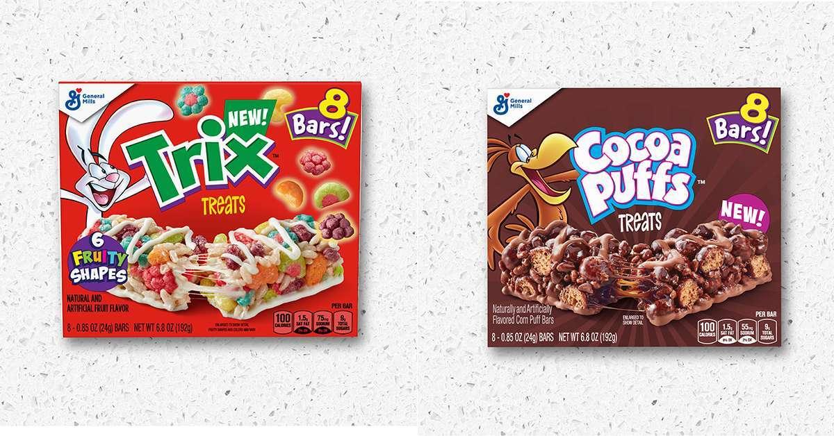 trix cocoa puffs cereal bars