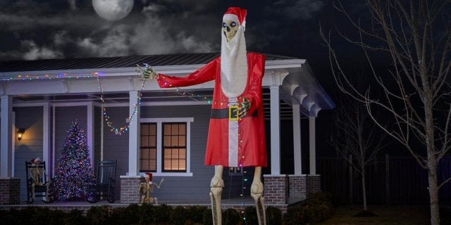 home depot giant skeleton santa claus costume outfit halloween