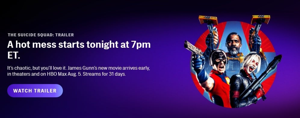 The Suicide Squad on HBO Max Thurdsday at 7pm ET