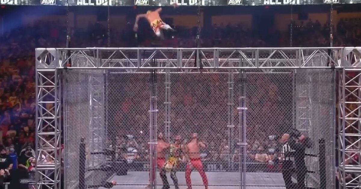 AEW All Out Rey Fenix Jumps From Top of Cage Lucha Bros Young Bucks