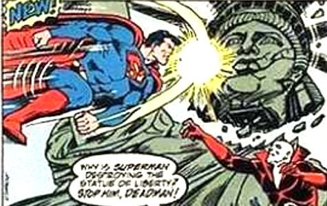 Superman Punches Statue of Liberty