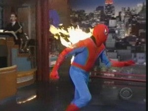 Spider-Man on Fire on Late Show