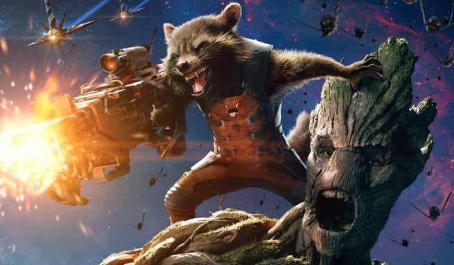 guardians of the galaxy groot and rocket raccoon poster top