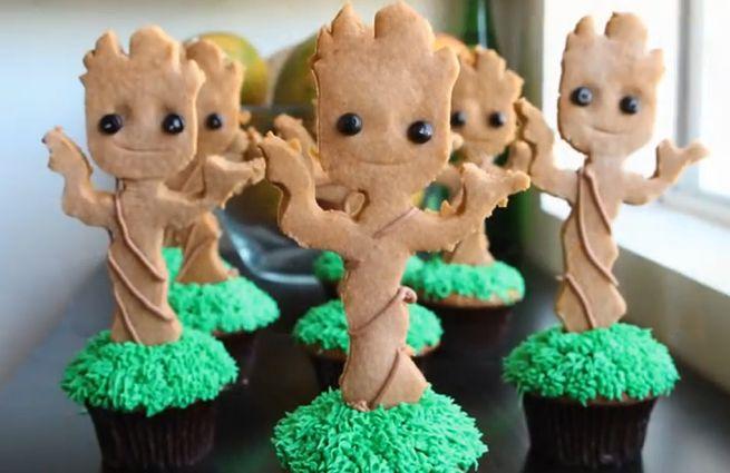 Dancing Baby Groot Cupcakes