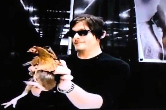 Norman Reedus Holding chicken