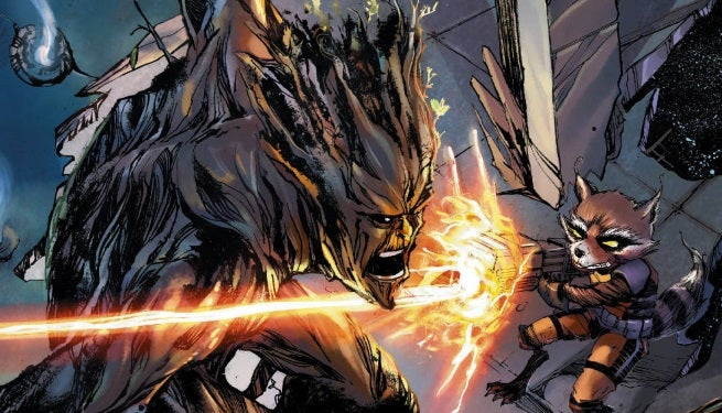 UNCANNY X-MEN #28 ROCKET RACCOON AND GROOT VAR top