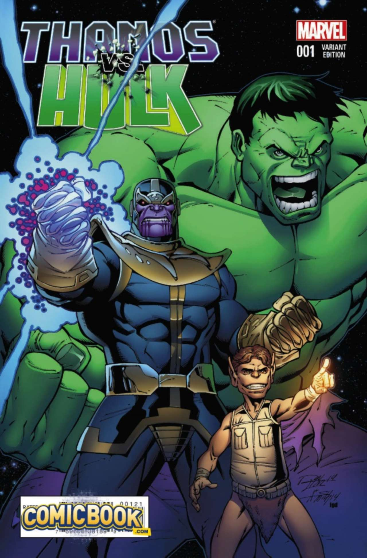 exclusive marvel preview thanos vs hulk 1 variant cover by ron lim