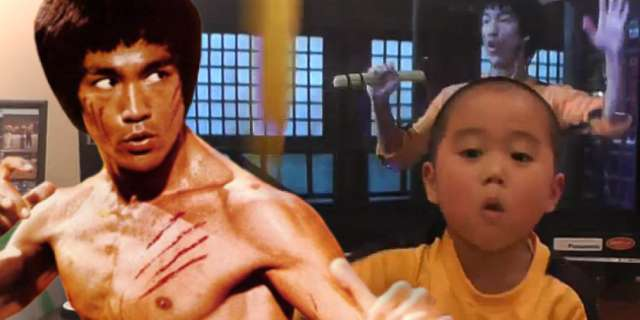 Five Year Old Recreates Bruce Lee Fight From Game Of Death