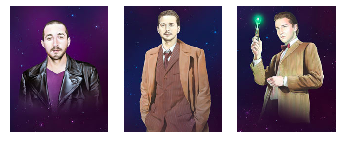 Shia LaBeouf Painted As Every Doctor From Doctor Who