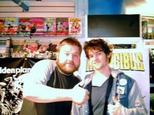 Robert Kirkman (left), with the author at Forbidden Planet in New York, 2009.