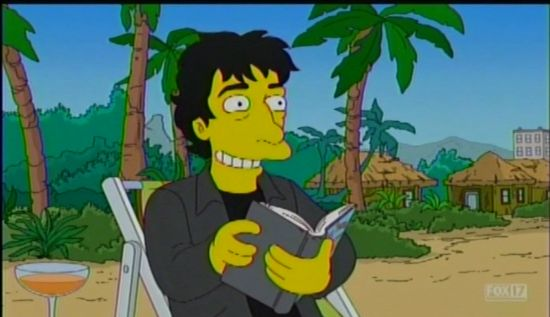 The Simpsons Neil Gaiman on a beach