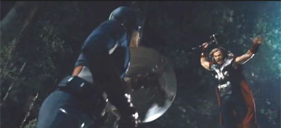 Thor attacks Captain America