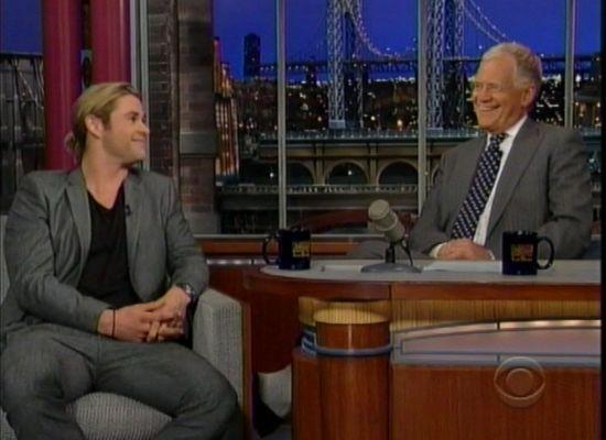 Chris Hemsworth and David Letterman