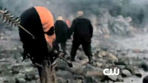 The mask of Deathstroke the Terminator appears in the CW Network's new Green Arrow show, Arrow.