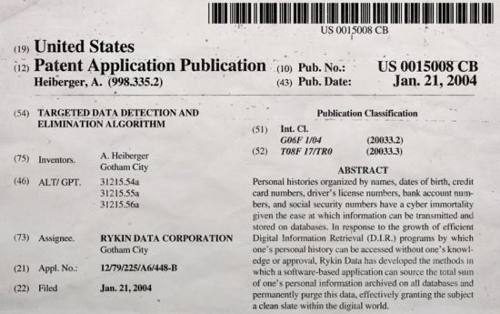 Rykin Data Patent Application
