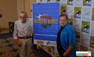 Stan Lee and Mark Hammill pose in support of Lee's World of Heroes YouTube page, which Hammill stars in shows for.