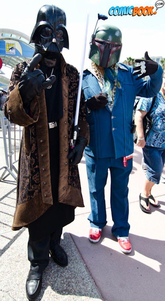 Cosplay hipster Darth Vader & Boba Fett