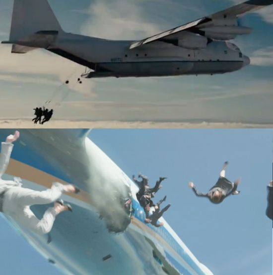 Iron Man 3 The Dark Knight Rises plane crash scene