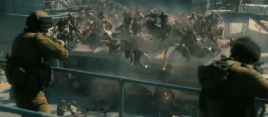 World War Z shooting zombies on a bus
