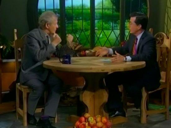 Ian McKellen and Stephen Colbert