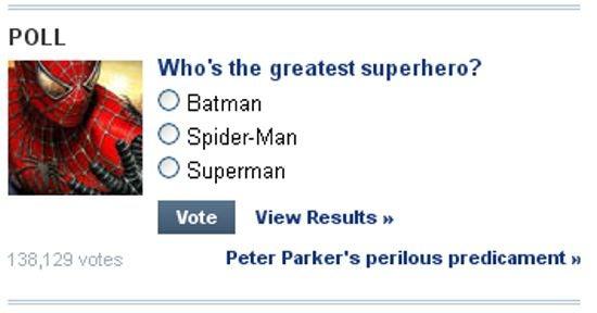 Yahoo Greatest Superhero poll
