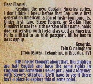 Letter about Captain America's Irish heritage