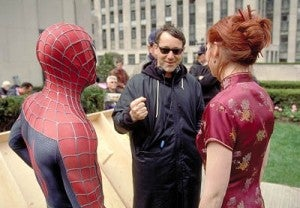 Sam Raimi directing Tobey Maguire and Kirsten Dunst in one of the SPIDER-MAN films.