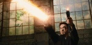 Tony Stark with machine guns