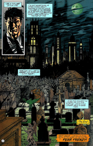 Batman at the Wayne Family Cemetery pondering his destiny