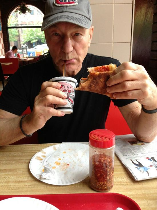 The Great Patrick Stewart Pizza Eating Mystery Has Been Solved