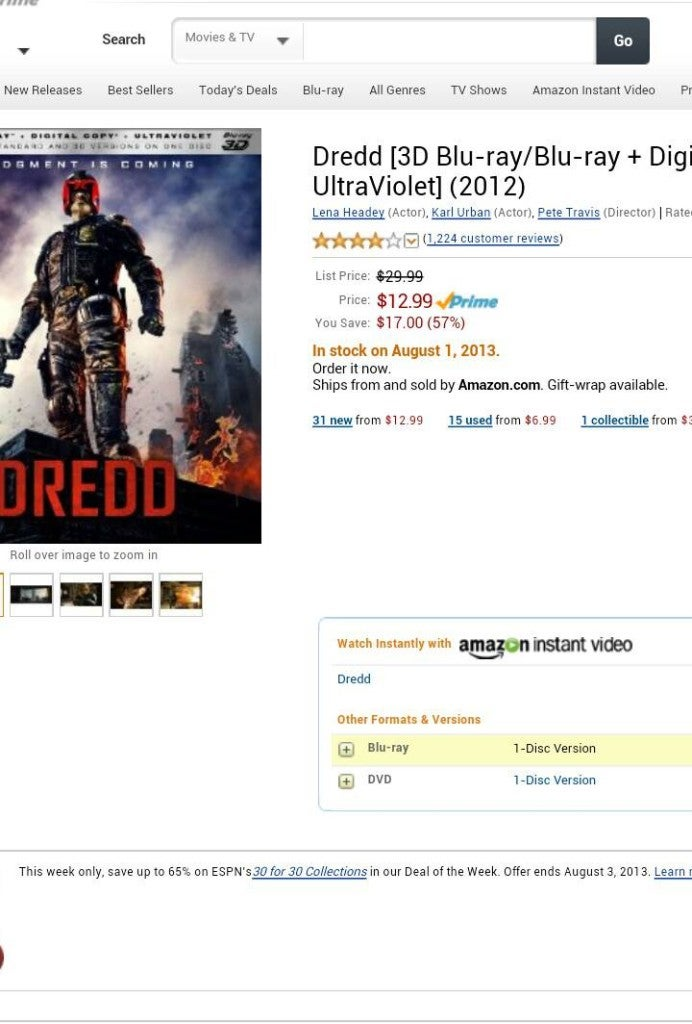 Dredd Blu-Ray Is Sold Out at Amazon