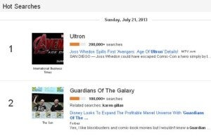 Google Trends Ultron & Guardians Of The Galaxy