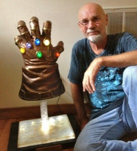 Jim Starlin with the Infinity Gauntlet