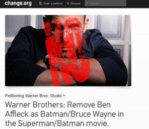 Petition against Ben Affleck as Batman