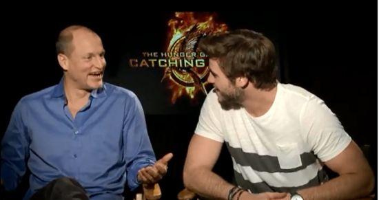 Catching Fire Harrelson & Hemsworth