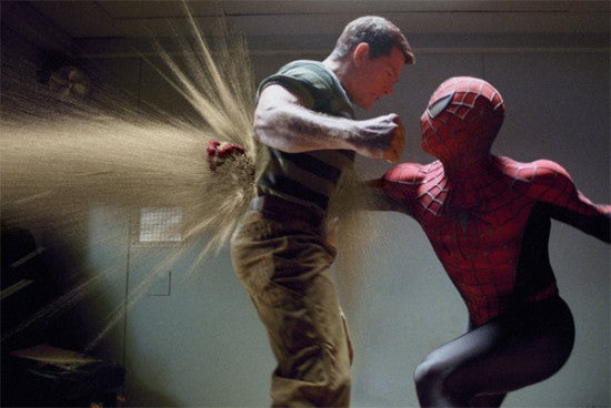 Spiderman 3 movie image Thomas Haden Church as Sandman fighting Spiderman