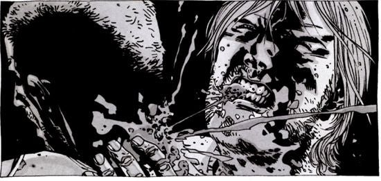 The Walking Dead Rick's Teeth Rip Out Throat